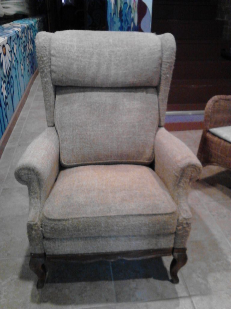 large yellow arm chair