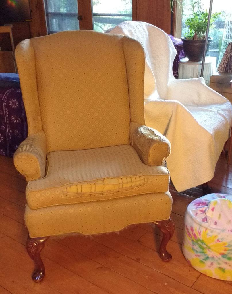 comfortable yellow armchair