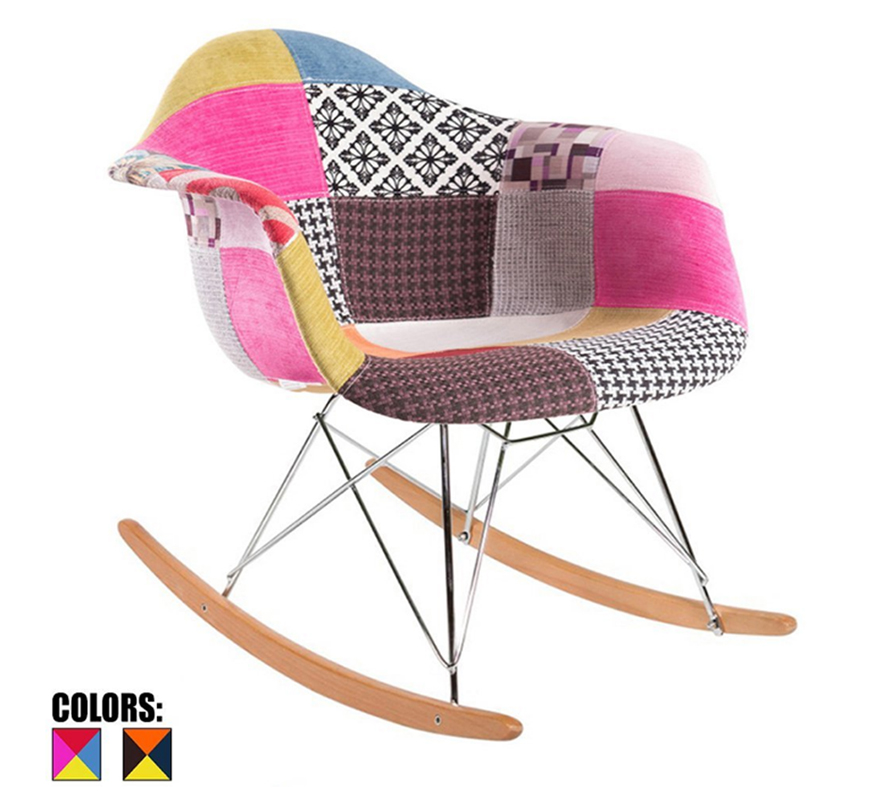 colorful patchwork rocker for nursery