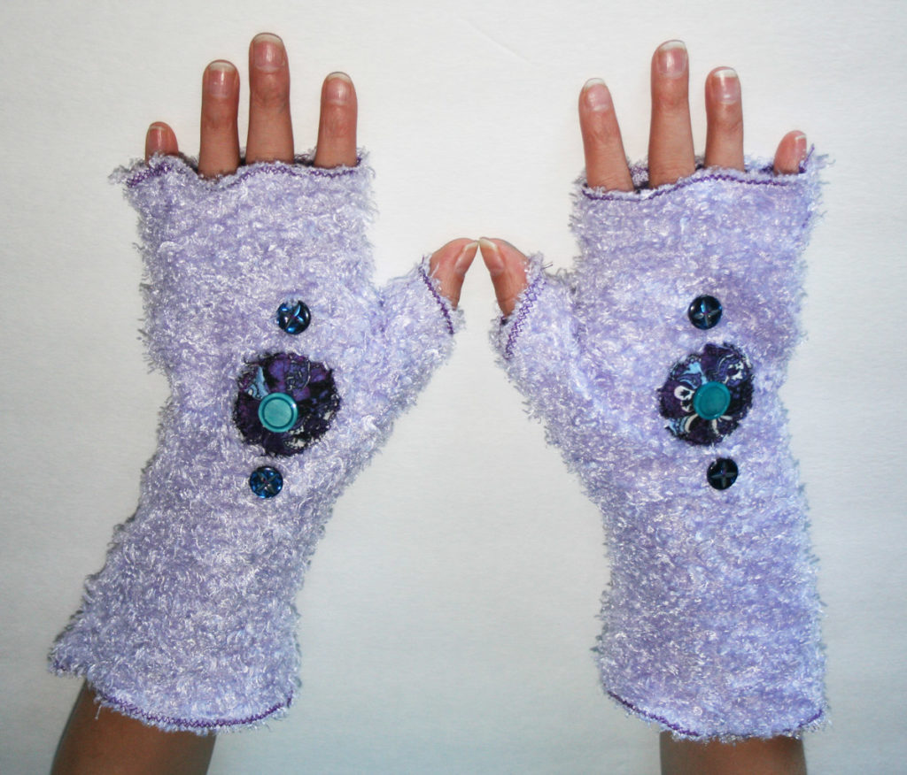 Upcycled fingerless gloves by Mandy Wildman