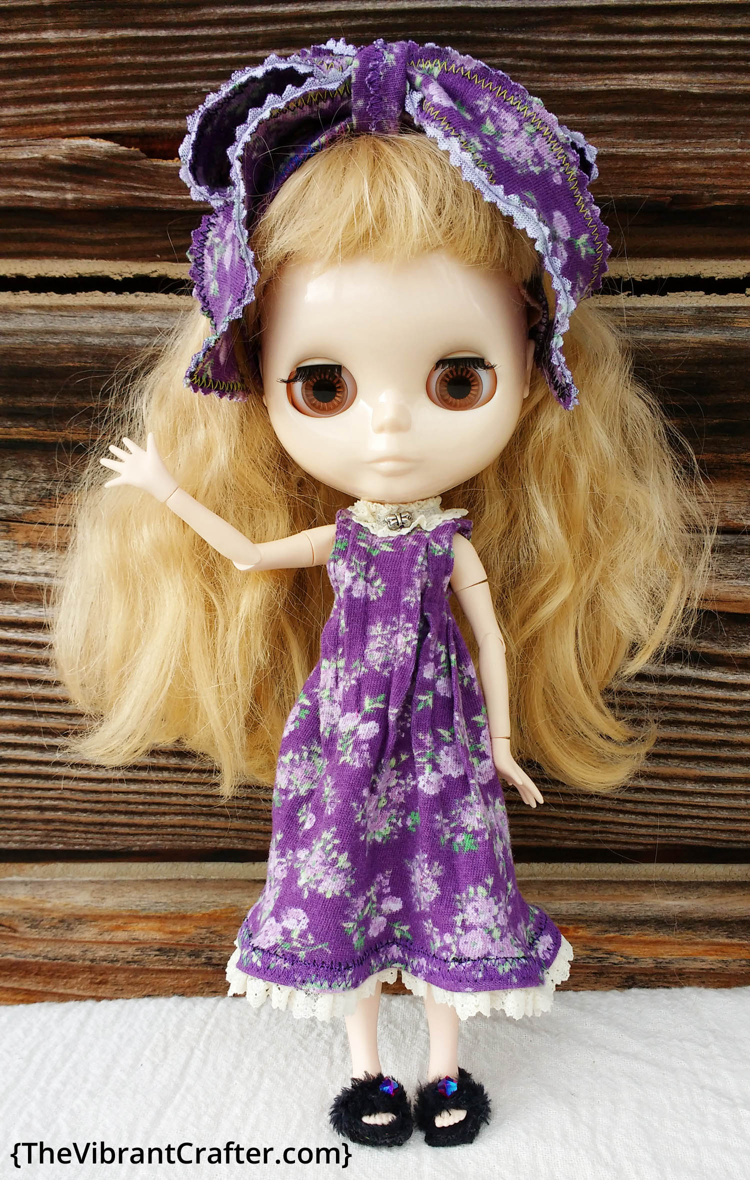 Factory Blythe Doll in a Purple Dress