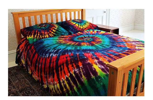 Colorful Rainbow Tie-Dye Bedding - 100% Cotton Duvet Cover Set by Brightside - Full/Queen