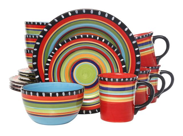 Rainbow Colorful Gibson Elite Pueblo Springs 16-Piece Dinnerware Set
