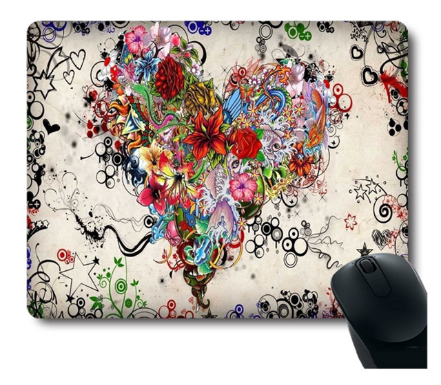 Colorful Heart Tattoo Computer Mouse Pad