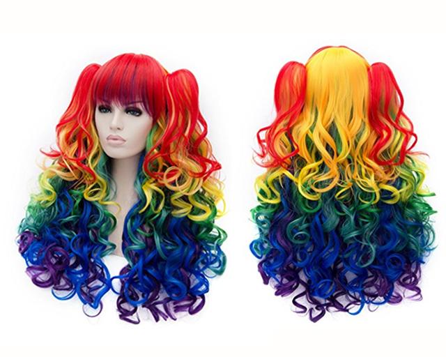 Long wavy rainbow wigh