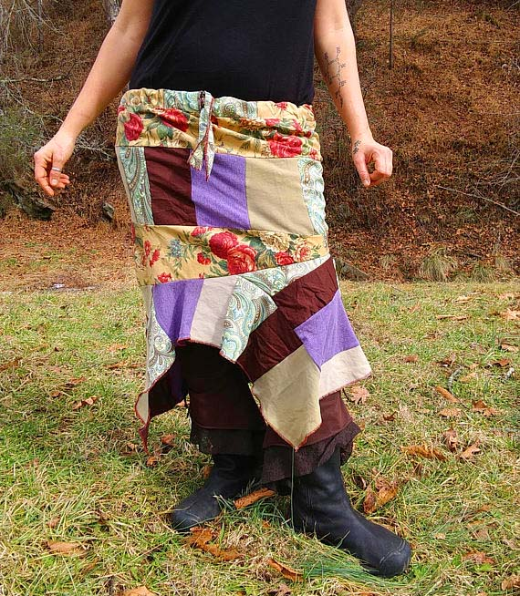 Upcycled clothing - patchwork skirt